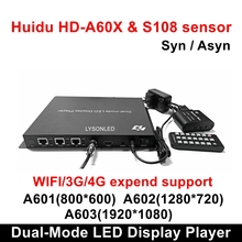 Huidu HD A601 HD A602 HD A603 Full Color Sync async Dual mode LED Display Player with S108 Sensor Box,3G/4G/WiFi Expend Support