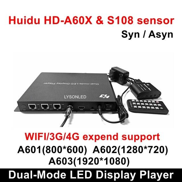 Huidu HD A601 HD A602 HD A603 מלא צבע סנכרון סינכרוני כפול מצב LED תצוגת נגן עם S108 חיישן תיבה, 3G/4G/WiFi להוציא תמיכה