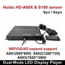 Huidu HD A601 HD A602 HD A603 synchro couleur lecteur daffichage LED double mode async avec boîtier de capteur S108, prise en charge des dépenses 3G/4G/WiFi