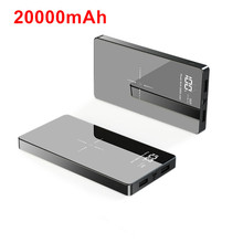 Qi 전원 은행 20000 mah 듀얼 usb 외부 배터리 충전기 아이폰 x xs 8 플러스 11 프로 삼성 xiao mi mi 9 무선 전원 은행