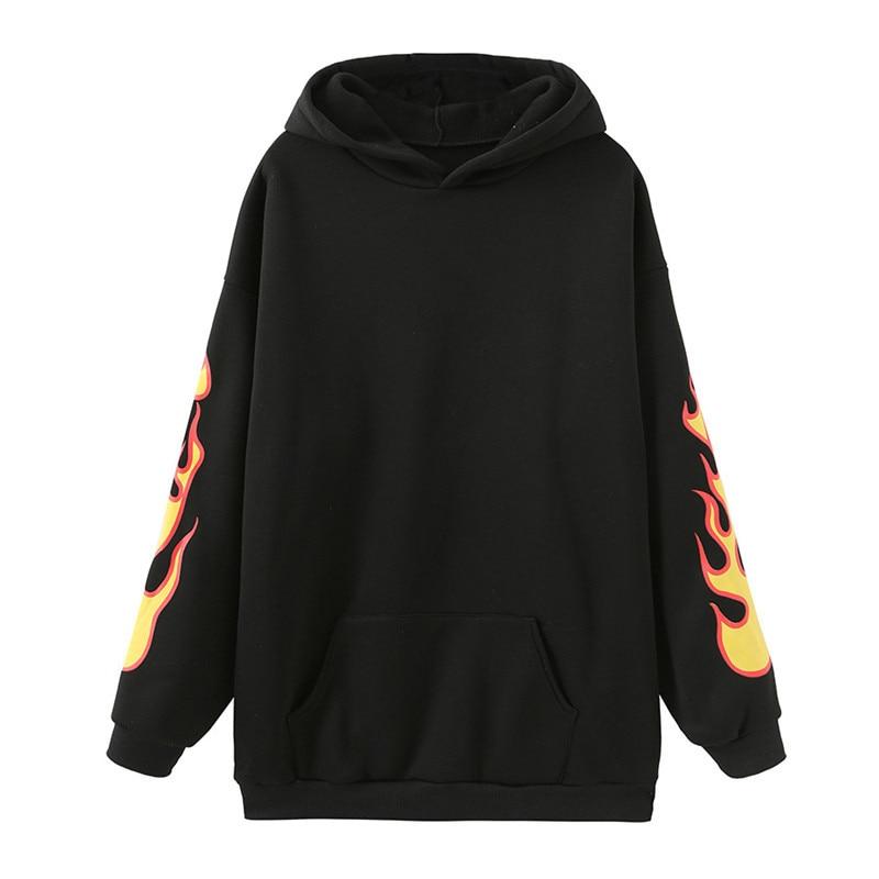 Focal20 Streetwear Flame Print Women Fleece Hoodies Loose Pocket Female Hooded Sweatshirt Tracksuit Warm Winter Lady Pullovers
