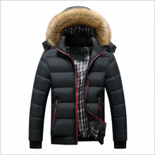 FALIZA New Winter Mens Jackets Thick Hooded Fur Collar Parka Men Outwear Coat Casual Patchwork Padded Mens Jacket Plus 7xl MY20