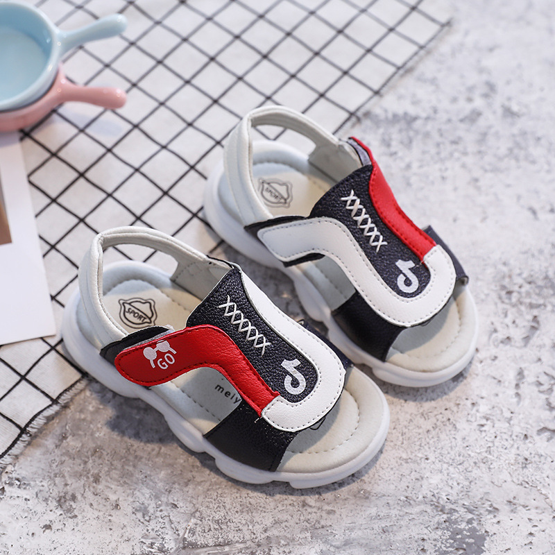 New Baby Boys Leather Sandals Summer Children Beach Sandals Kids Shoes PVC Flat Soft Non-slip Casual Toddler Sandals 1-3 Years
