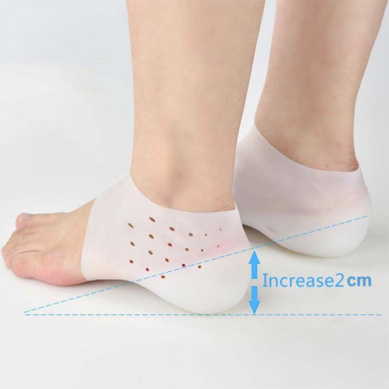 New Hot 1Pair Invisible Height Increased Insoles Silicone Heel Socks For Women Men Insoles