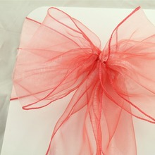 50pcs 18x275cm Dark Coral Wedding Organza Chair Cover Sashes Bow Sash Wedding Banquet Party Decoration Free Shipping