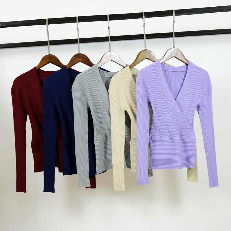 Dijual 2019 Seksi Wanita Leher V Sweater Pullovers Musim Gugur Musim Dingin Slim Solid Lengan Panjang Rajutan Sweater Wanita Lembut Jumper Tops