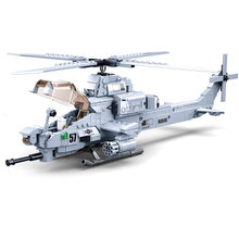Militar rei de jaeger modelos AH-1Z viper gunship helicóptero armado lutador blocos de construção kit tijolos clássico modelo crianças brinquedos