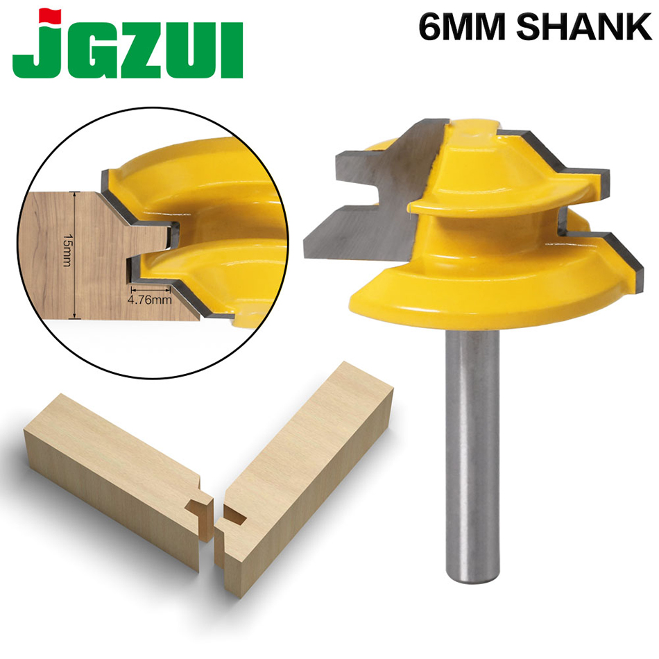 1Pc 45 Degree Lock Miter Router Bit 6mmShank Woodworking Tenon Milling Cutter Tool Drilling Milling For Wood Carbide Alloy