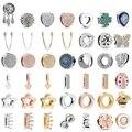 Шармы-подвески из настоящего серебра 925 пробы, подвеска в виде сердца и мамы, подвески-рефлексоры, подходят для оригинальных браслетов Pandora и...