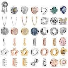 Real 925 prata esterlina encantos mum script coração balançar reflexions charme caber pandora original grânulo pulseiras jóias diy