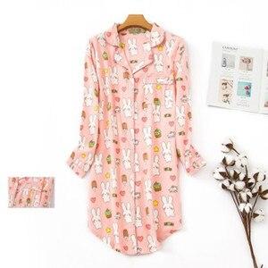 Image 1 - Женская длинная пижама из чистого хлопка, в клетку, большого размера, 2020