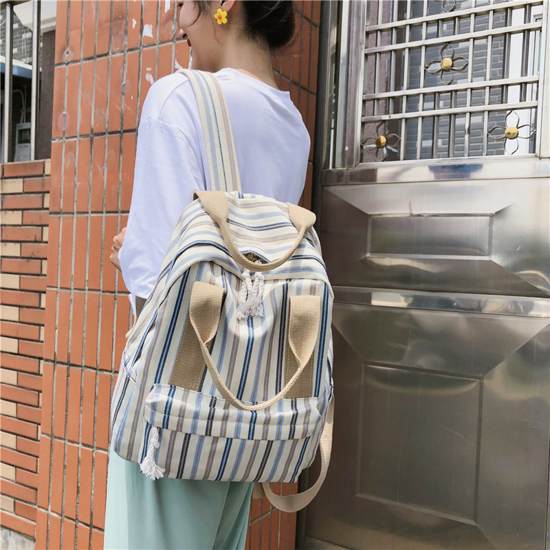 Casual Vertical Stripes Cotton Backpack Women Panelled Schoolbag For Teenage Girl Student Bookbag Large Capcity Travel Back Pack