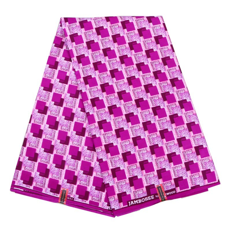 Ankara New Sweet Wax Fabric Lady Pink Square Printed Fabrics For Sewing 6Yards/set