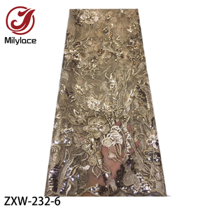 Image 5 - 2019 Fashion French Lace Fabric with Sequins 5 Yards African Tulle Embroidered Flower Net Lace Fabric for Wedding ZXW 232