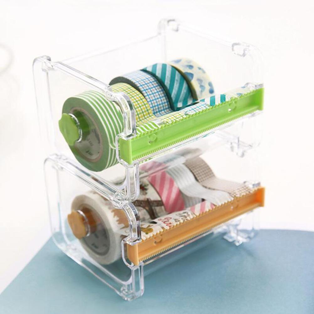 Creative Desktop Paper Tape Cutter Holder Dispenser Craft Office Stationery Box