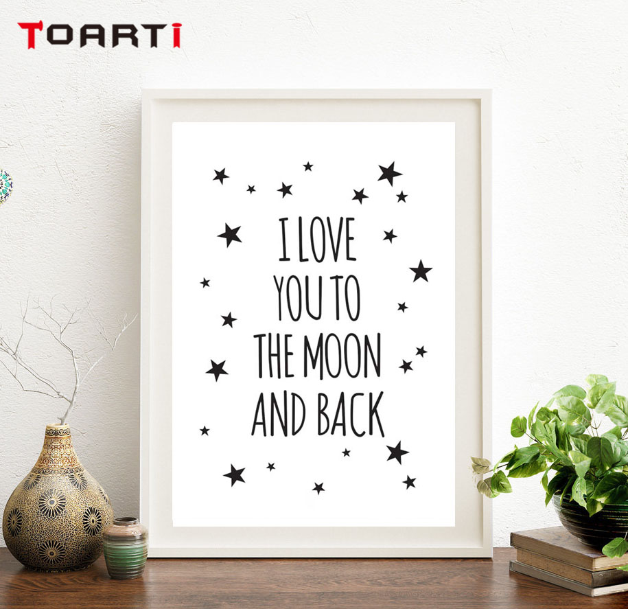 I Love You To The Moon And Back Classic Poster Canvas Paintings Nursery Wall Art Oil Picture For Kids Room Home Decor No Frame