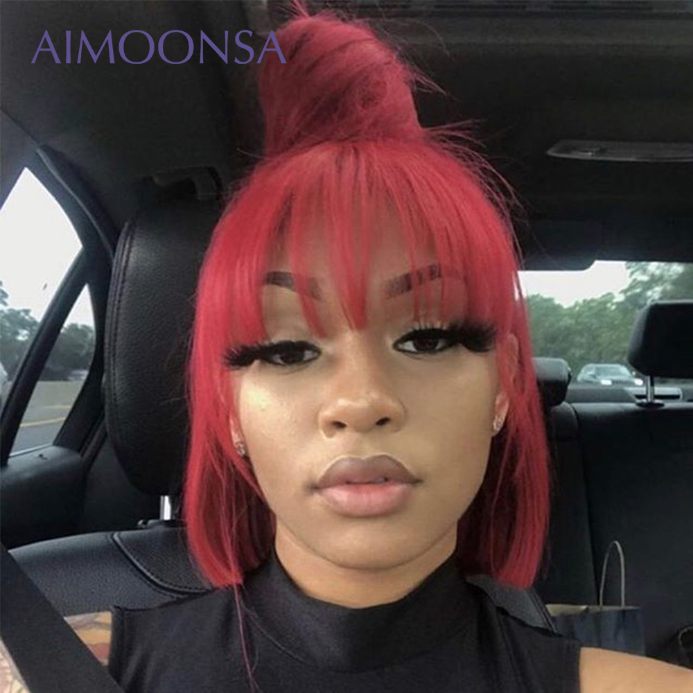 Bang Wig Human Hair 13x6 Short Bob Lace Front Wigs With Bang 150% Density Red Colored Human Hair Wigs Bangs HumanHair