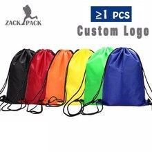 5pcs Custom Drawstring Bags Waterproof Sports Polyester Backpack School Students Mochila Printing Logo Sack Free Shipping