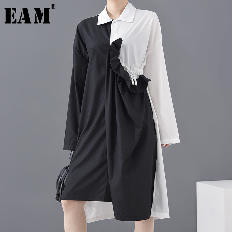 [EAM] Women Black Drawstring Pleated Big Size Shirt Dress New Lapel Long Sleeve Loose Fit Fashion Spring Summer 2020 1A18801
