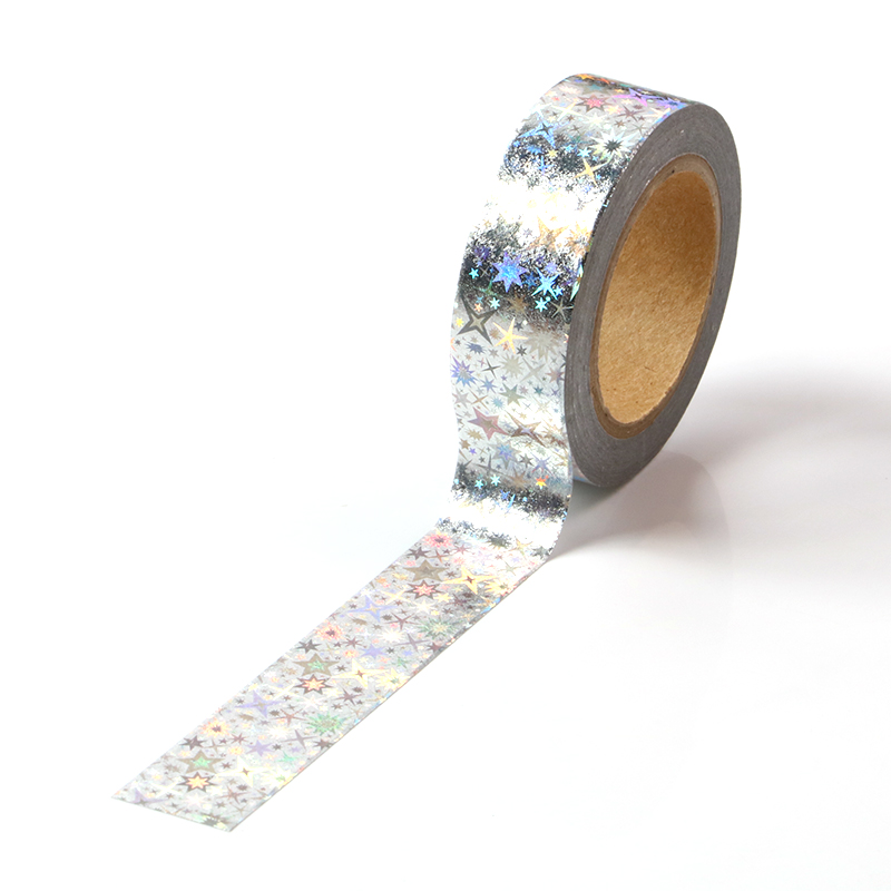 15mm*10m The Shining Stars Laser Masking Washi Tape Decorative Adhesive Tape Decora Diy Scrapbooking Sticker Label Stationery