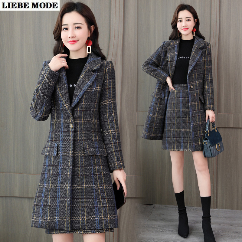 Women's Office Suits Elegant Plaid Trench Coat and Skirt 2 Piece Set Work Outfit Long Jacket with Skirt Autumn Winter Suits