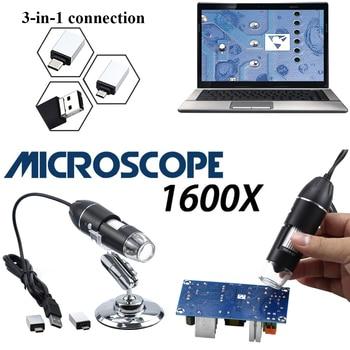 Professional USB HD Digital Microscope 1600X 1000X 500X 8 LED Electronic Microscope Endoscope Zoom Camera Magnifier+ Holder 1 3mp 960p hd cmos ar0130 low light hd usb webcam industrial microscope endoscope telescope camera with 2 8 12mm cs mount lens
