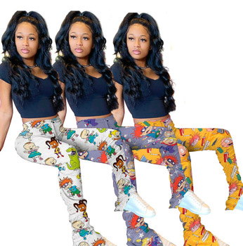 Cartoon Print Sexy  High Waist Ruched Stacked Sweatpants Women Elastic Plus Size Skinny Trousers Split Hem Leggings Flare Pant plus floral print split hem dress