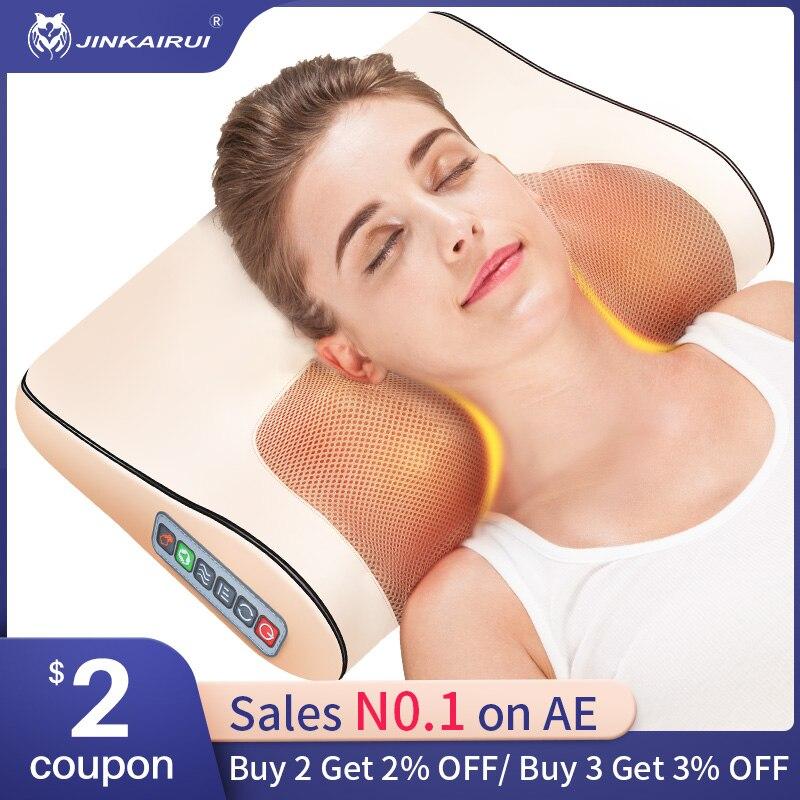 Almohada masajeadora eléctrica infrarroja para espalda y cuello, masajeador Cervical saludable para relajación|massage pillow shiatsu|massage deviceshiatsu massage - AliExpress