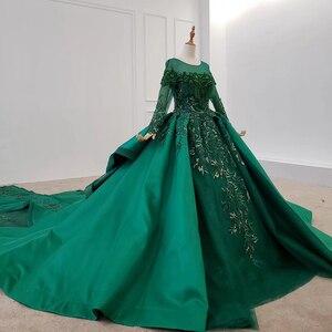 Image 3 - HTL1165 女性イブニングドレス o ネックアップリケスパンコールパターンの房の高級長袖新イブニングドレス vestidos デ · フェスタロンゴ