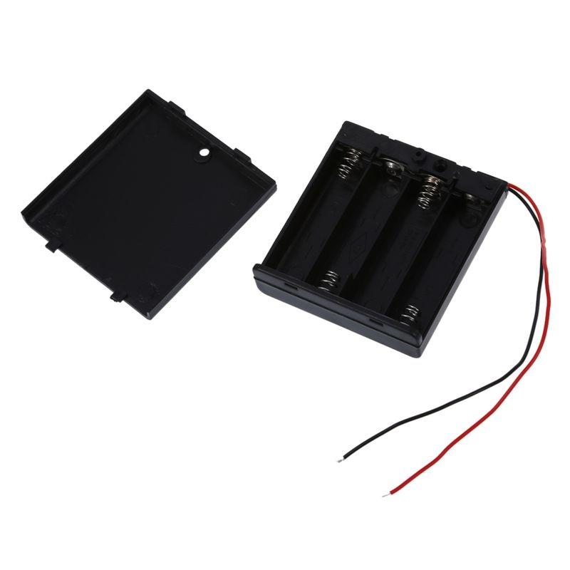 Купить с кэшбэком 2 Pcs 4 x AA 6V Battery Holder Case Box Wired ON/OFF Switch w Cover