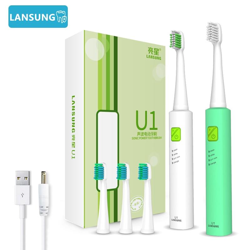 Lansung ultra sônica escova de dentes elétrica usb recarregável escova de dentes cuidados orais dental cinto de higiene substituível cabeça da escova 5