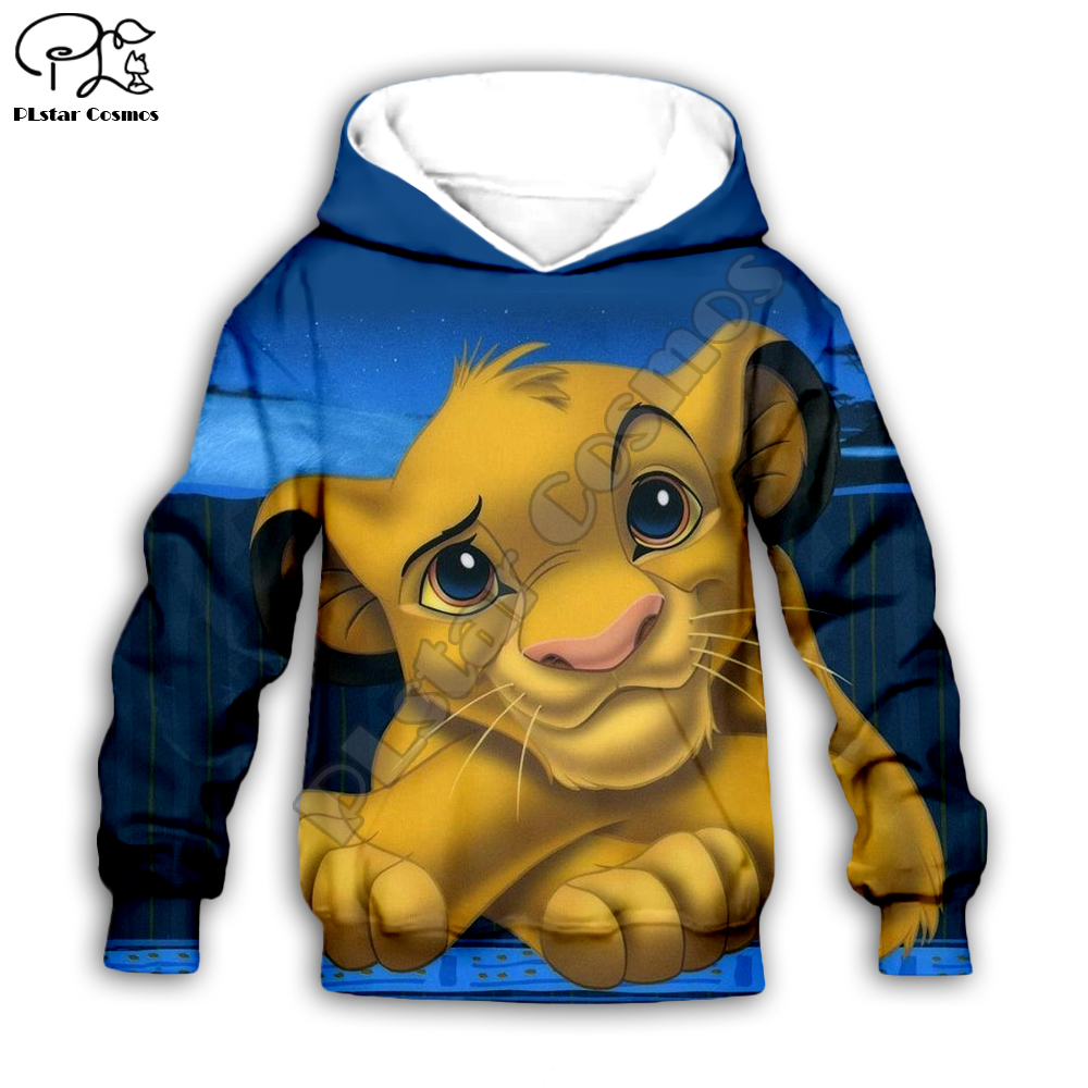 Galaxy Simba The Lion King Cartoon Hoodie Kids Baby 3D Print Zipper Sweatshirts Boy Girl Long Sleeve Top Pants For Dropshipping