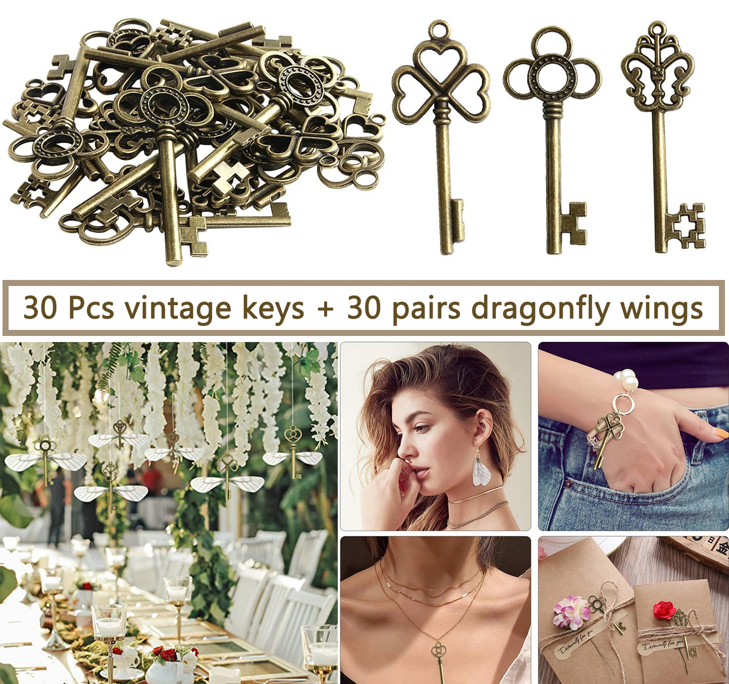 30Pcs Flying Keys DIY Handmade Accessories with Dragonfly Wing Charms Vintage Bronze Skeleton Key Party Wedding Favors Supplies