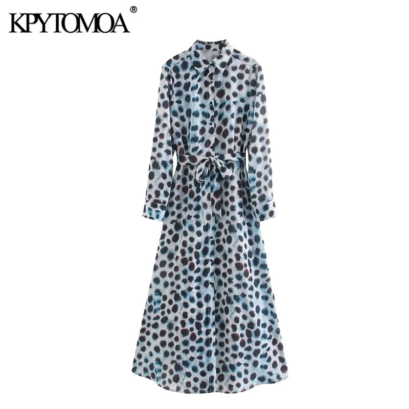 KPYTOMOA Women 2020 Chic Fashion Leopard Print With Sashes Midi Shirt Dress Vintage Long Sleeve Animal Pattern Female Dresses