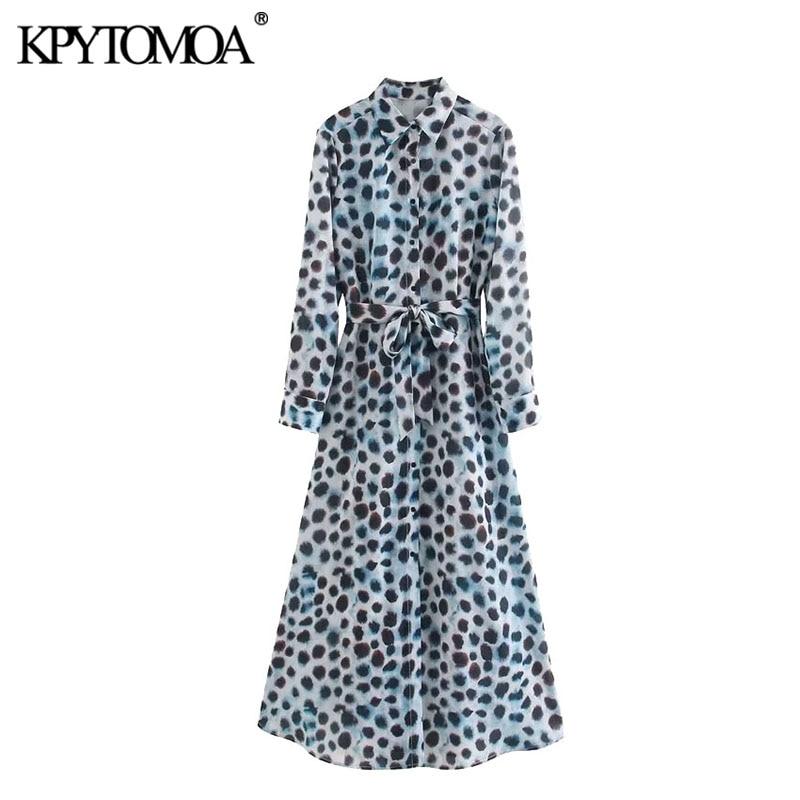 KPYTOMOA Women 2020 Chic Fashion Leopard Print With Sashes Midi Shirt Dress Vintage Long Sleeve Animal Pattern Female Dresses