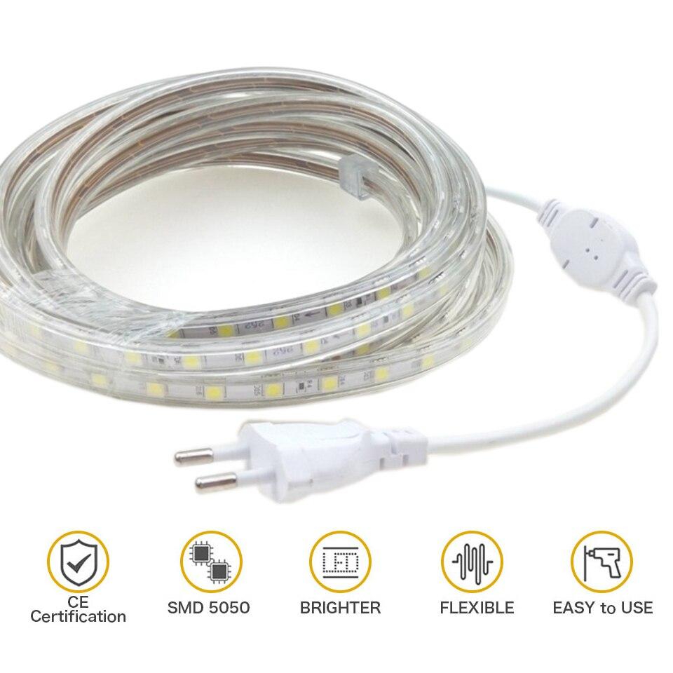 1Set Waterproof IP67 Silicone Tube 5050SMD AC220V LED Strip light Tape 1M/2M/3M/4M/5M/6M/7M/8M/9M/10M/15M/25M With EU Power Plug