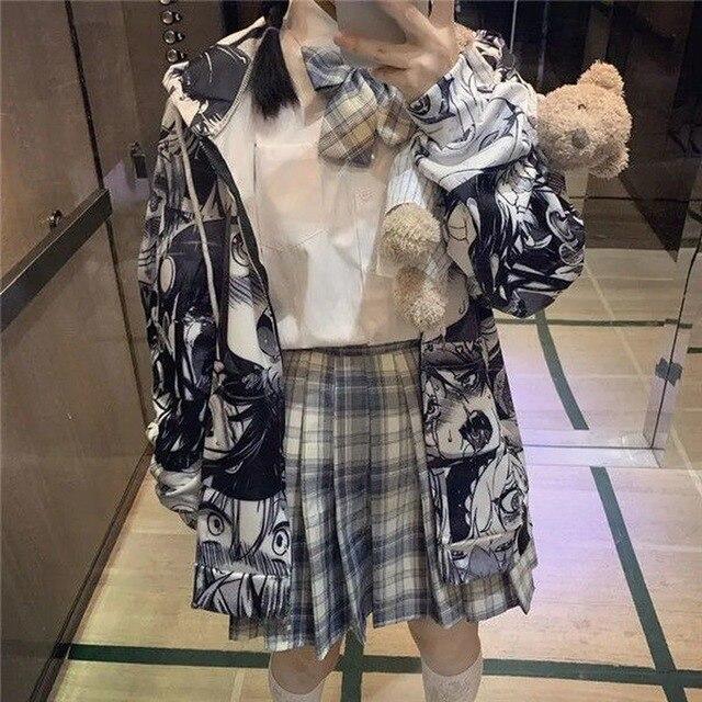 QWEEK Japanese Harajuku Anime Hoodie Hentai Zip Up 2021 Fashion Streetwear Women Kawaii Sweatshirts Korean Long sleeve Tops 5