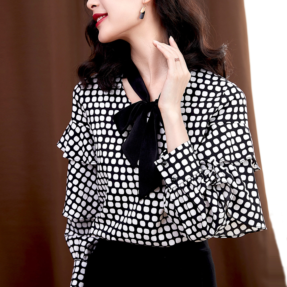 Elegant Bow Tie Women Chiffon Shirts Ruffles Long Sleeve Ladies Printed  Blouses Shirts Female Vintage Tops Office Casual Blusas