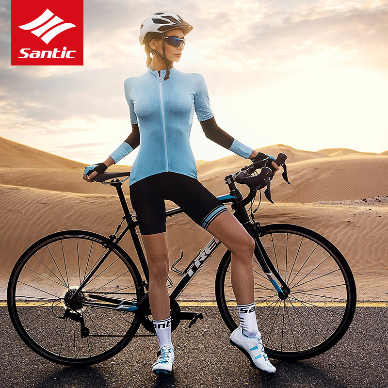 Cycling-Jersey Santic Short-Sleeve Road-Mtb-Jersey Bicycle Women Summer Breathable Asian-Size