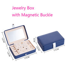 PU Jewelry Box Magnetic Buck Bracelet Earrings Necklace Rings Jewellery Storage Case Casket Cabinet Portable with Mirror недорого