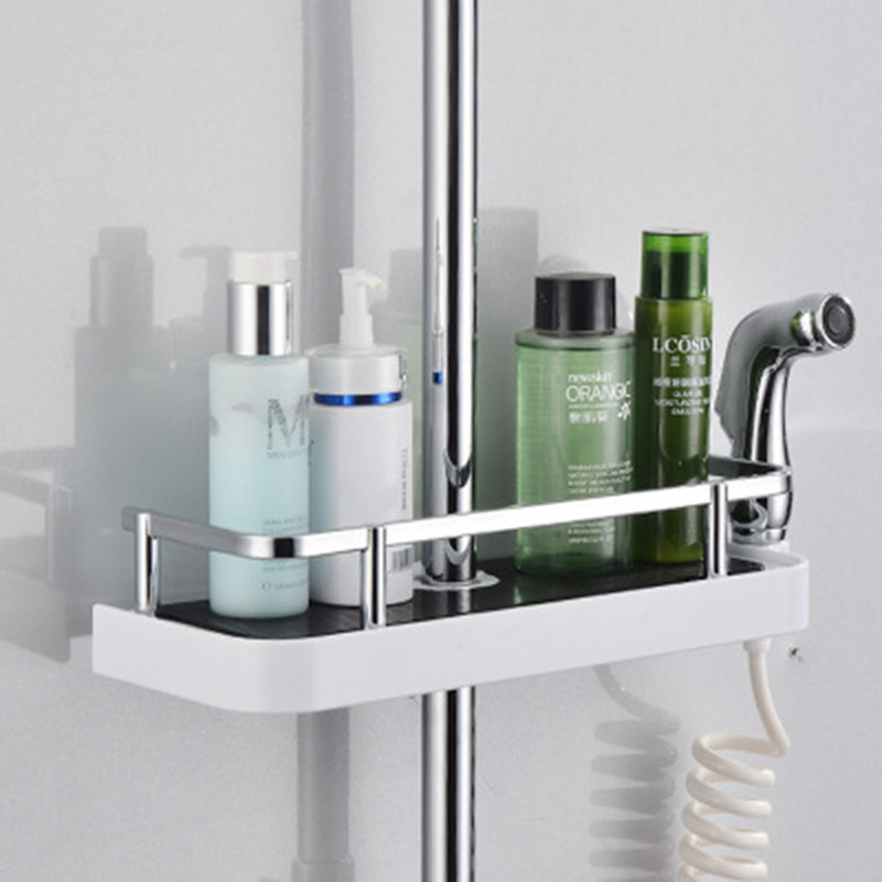 Sanitary Ware Shower Room Shower Lift Rod Storage Shelf Hole Punched Shower Rod Soap Dish Hook Tray Pendant