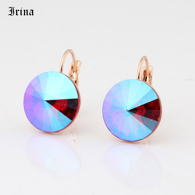 Round Simple Design Hot Sale 14mm 7 Color Crystals Stone Drop Earrings With French Hook Earrings For Women Elegant Party Wedding