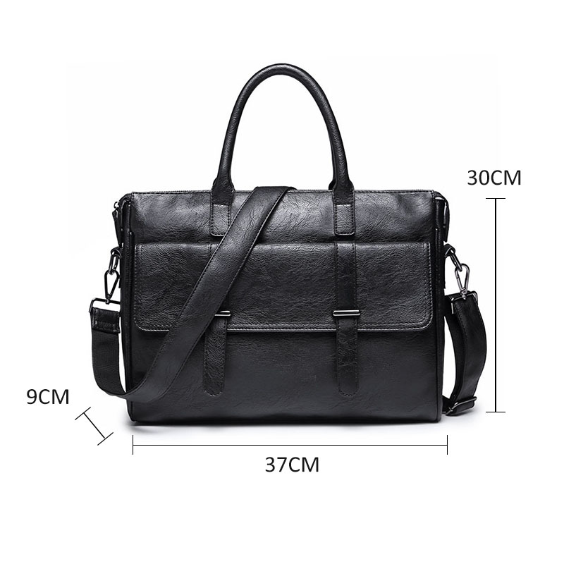 Image 4 - Scione Men's Leather Briefcase bag New Portable Business Bag For Men Office Laptop Messenger bag Leather Tote bagBriefcases   -