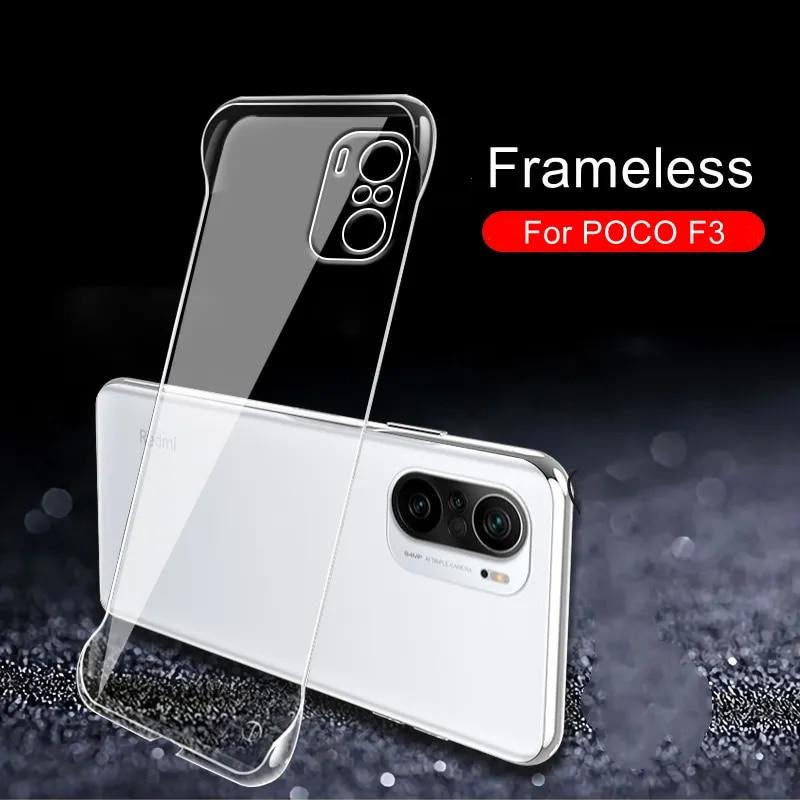Frameless Transparent Case for Xiaomi POCO F3 X3 GT 5G Clear Hard Plastic Cover For Redmi Note 10T 10S 10T Pro Mi 11 Lite Ultra