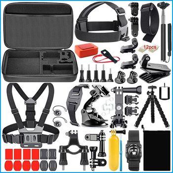 50 in 1 Sports camera accessories Kit Selfie Stick Storage bag Head Strap Chest Set for Gopro SJCAM  Action цена 2017