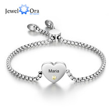 Bracelet cœur personnalisé avec nom gravé, en pierre de naissance, chaîne ajustable en acier inoxydable Bracelets pour femme