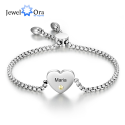 Personalized Engraved Name Heart Bracelet with Birthstone Stainless Steel Adjustable Chain Bracelets for Women Custom Jewelry