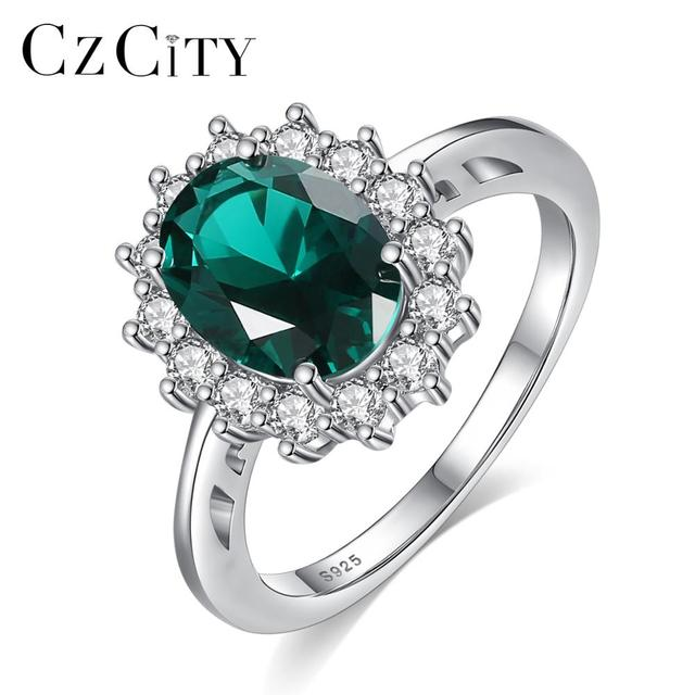 CZCITY Princess Diana William Kate Sapphire Emerald Ruby Gemstone Rings for Women Wedding Engagement Jewelry 925 Sterling Silver 1