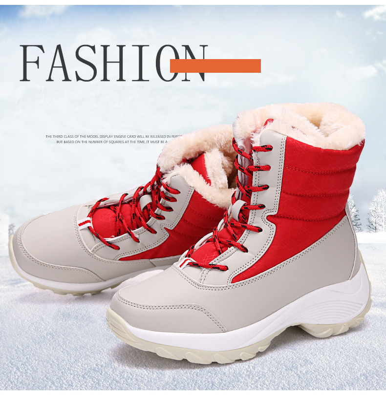 2019 Women Snow boots Waterproof Non-slip Parent-Child Winter Boots Thick Fur Platform Waterproof and Warm Shoes Plus Size 31-42 42