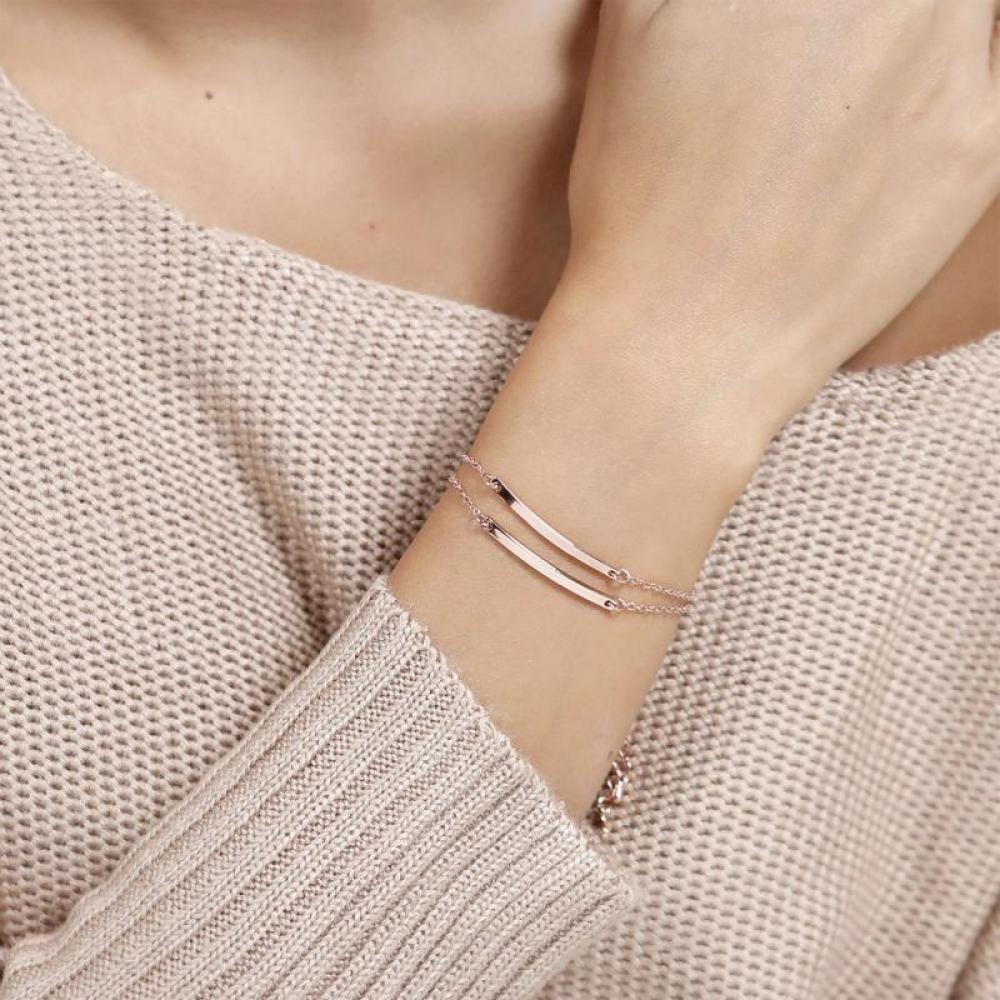 Exquisite 316L Stainless Steel Sliver Chain Bracelets For Women High Quality Rose Gold Silver Bracelets Jewelry Drop Shipping